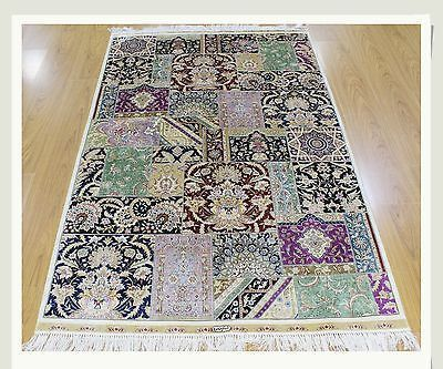 Multi Traditional Fusion Design Patchwork Rug Premium Quality 4' X 6' Silk