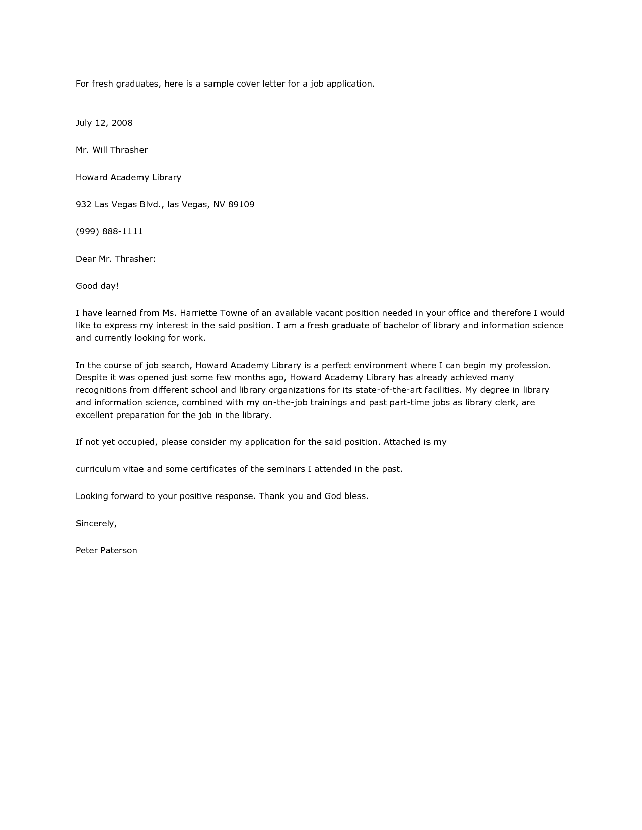 Example Resume Letter Cover For Job Best Business Sample