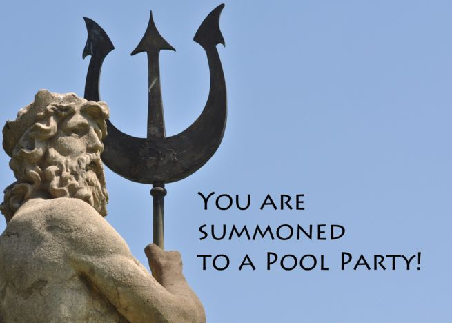 Pool Swimming Party Poseidon Statue Card In 2019 Party