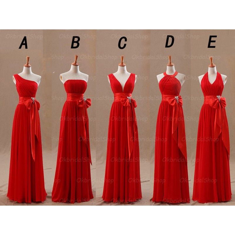 Long Bridesmaid Dress, Red Bridesma | Red bridesmaid dresses ...