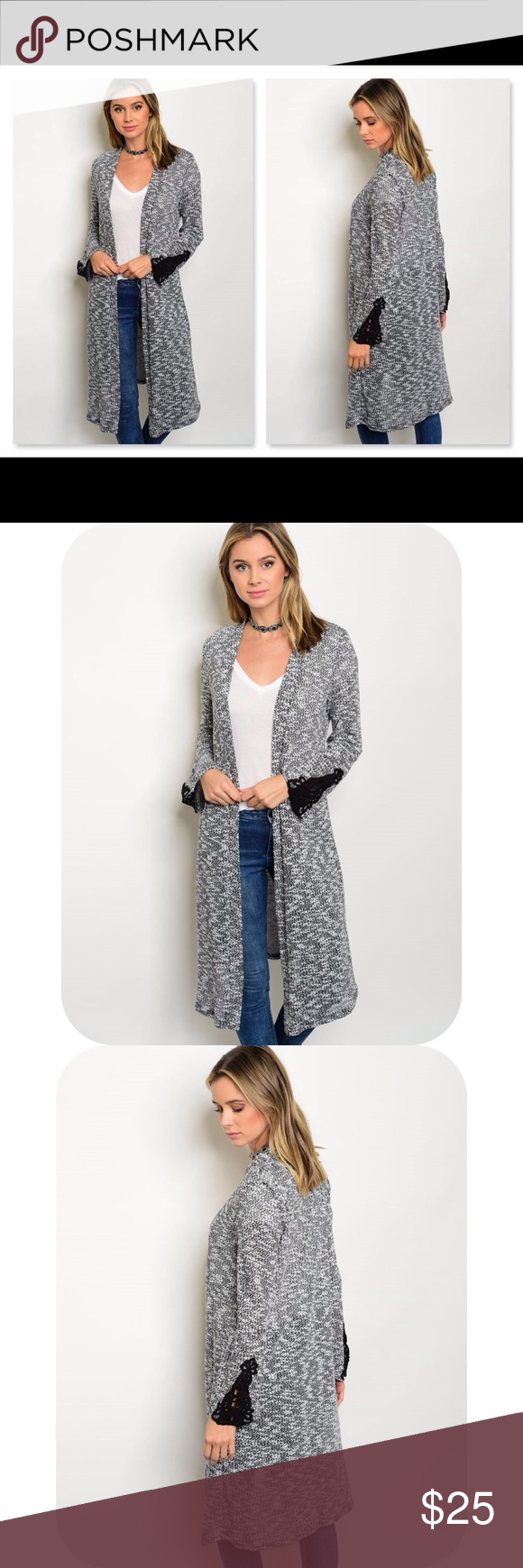Midi open front cardigan w/lace accents nwt | Open front cardigan ...