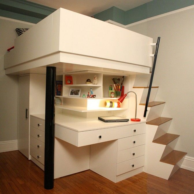 Modern Kids Bedroom With Beautiful Space Saving Bed And Desk Combo Design Kids Loft Beds Cool Loft Beds Small Loft Bedroom