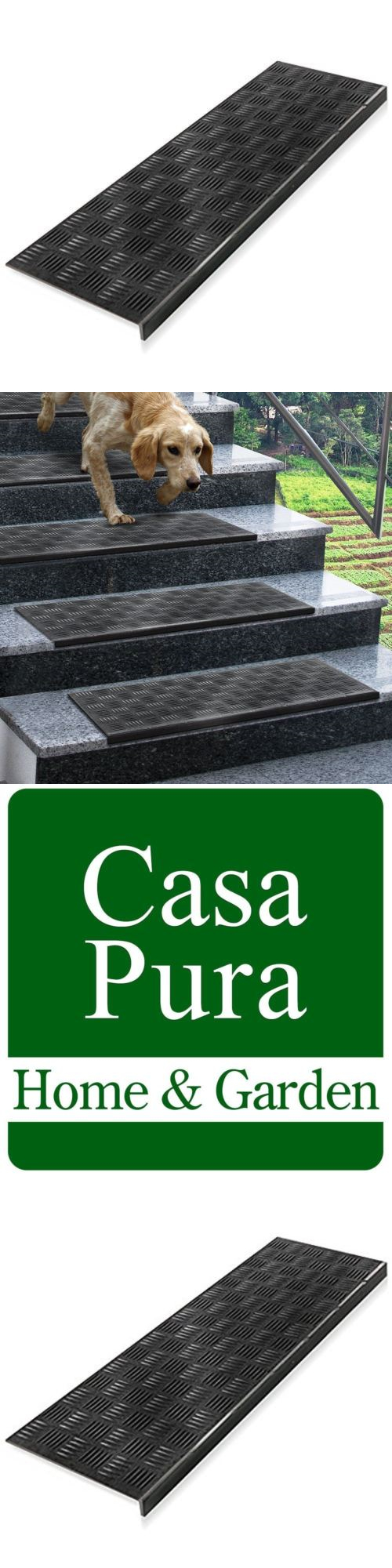 Stair Treads 175517: 5 Piece Weatherproof Superb Grip Indoor Outdoor  Non Slip Rubber