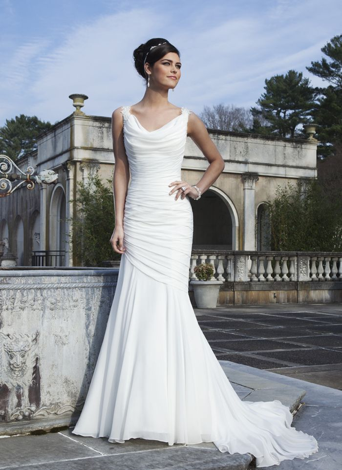 Sincerity Wedding Dress Style 3736 Lace Cap Sleeves Accent The Chiffon Cowl Neckline On This Draped