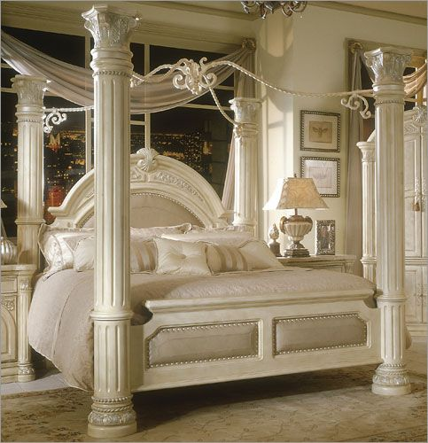 Aico Monte Carlo Poster Canopy Bed In Silver Snow Canopy Bedroom Sets Luxurious Bedrooms