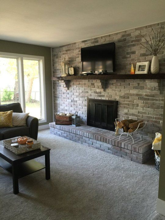 Before After Amanda S Cozy Cohesive Living Room Brick Fireplace Makeover Brick Fireplace Wall Fireplace Makeover