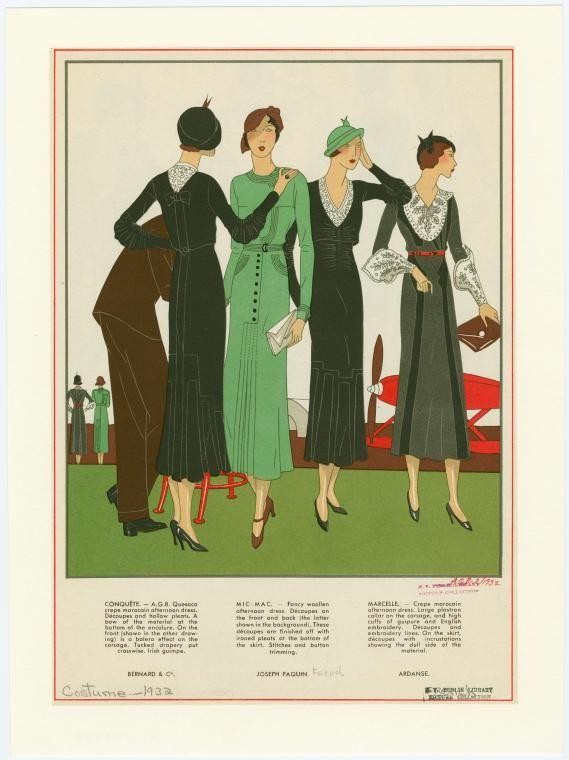 Costume designs by Bernard & Cie, Joseph Paquin and Ardanse   1932