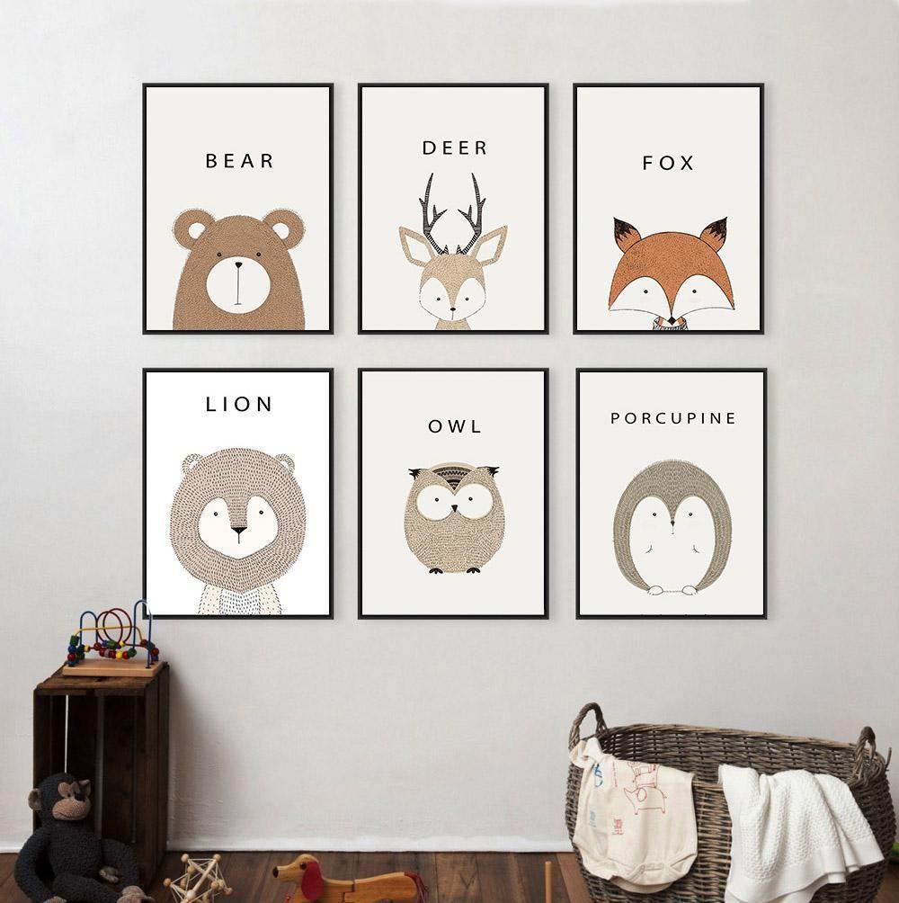 Poster Toile - Cerf Cartoon  Déco chambre bébé, Tableau chambre
