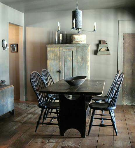 Primitive ♥ Love Those Wide Plank Floors  Prims I Love Magnificent Primitive Dining Room Sets Decorating Design