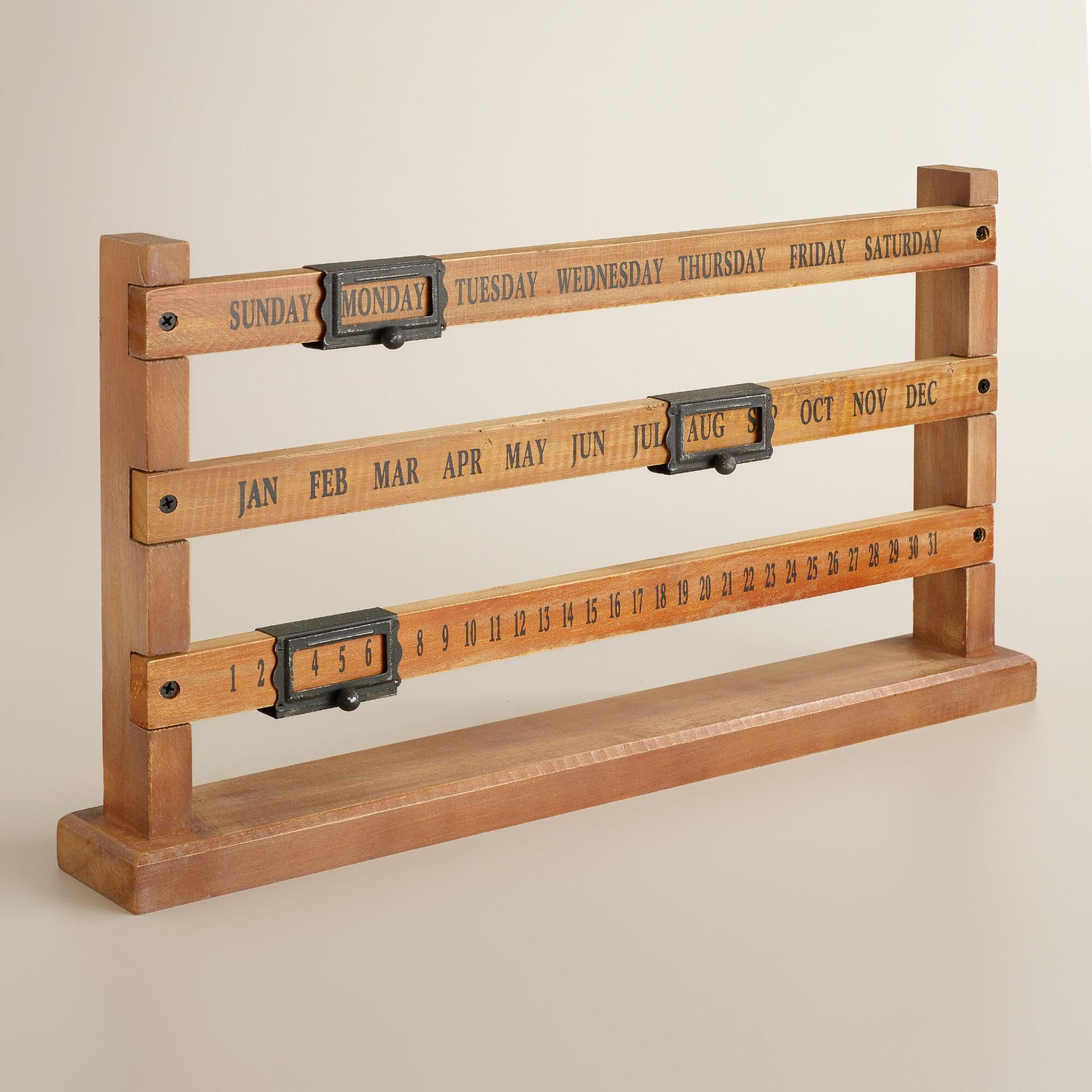 Perpetual Calendar Wood : Crafted of wood with handsome metal markers our vintage