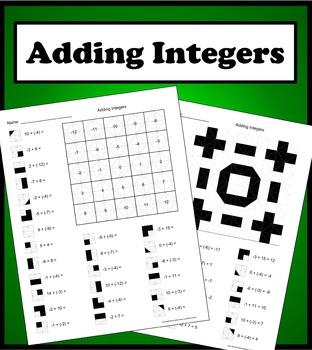 Adding Integers Color Worksheet Math • Middle School