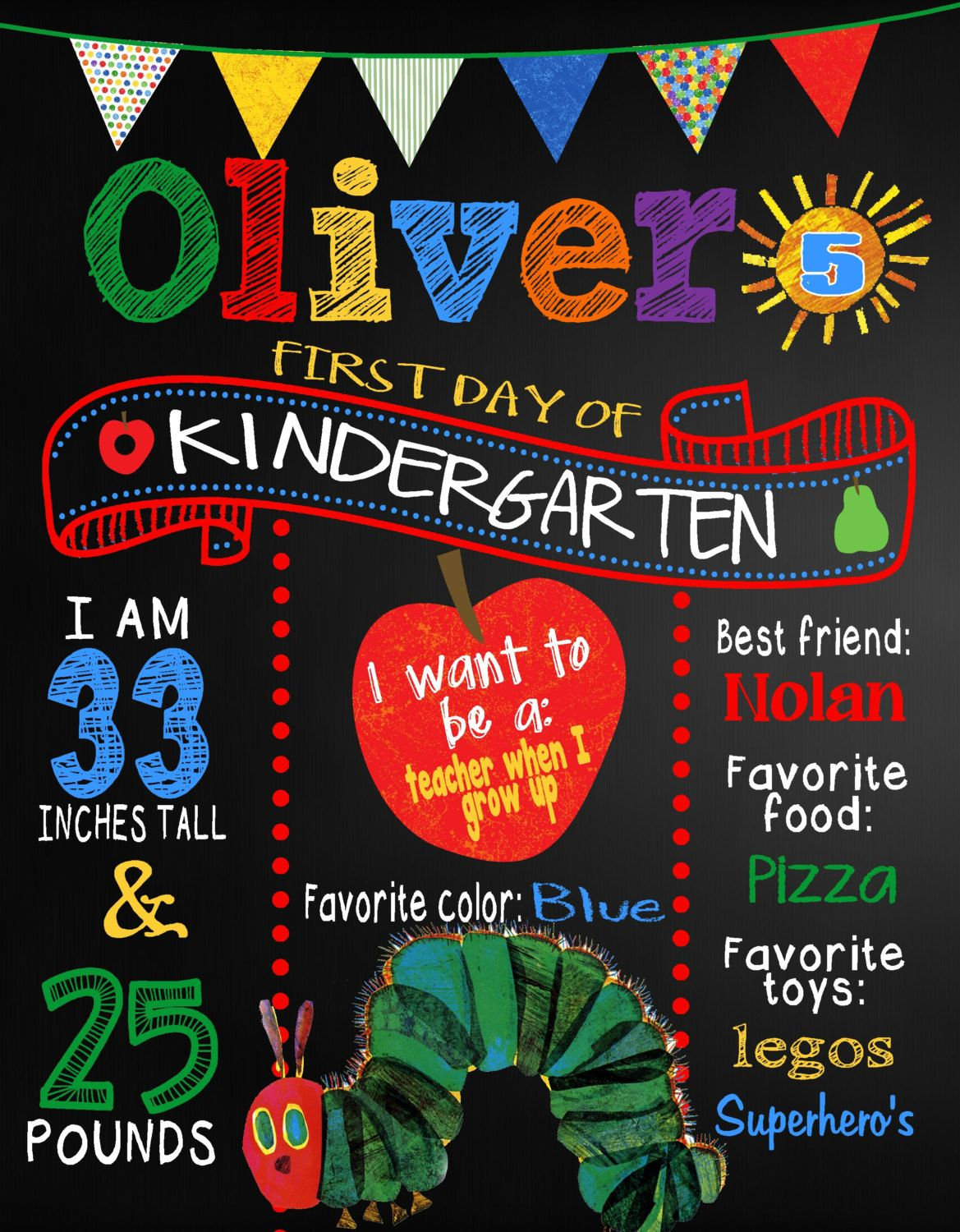 custom back to school sign the hungry caterpillar poster board