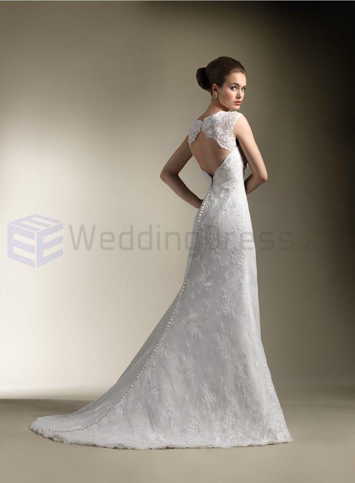 lace trumpet queen anne neckline wedding dress