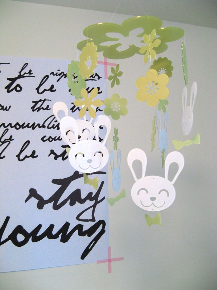 Daswood Rabbit Mobile, Lime Green Ikea Somnat Crib, and Huge Bob Dylan Forever Young Poster - on the Babiekins Magazine blog