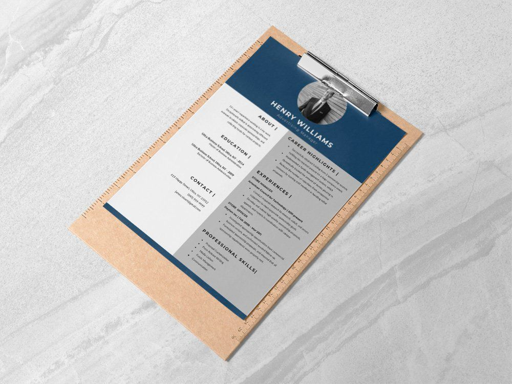 Free advertising manager resume template in word format
