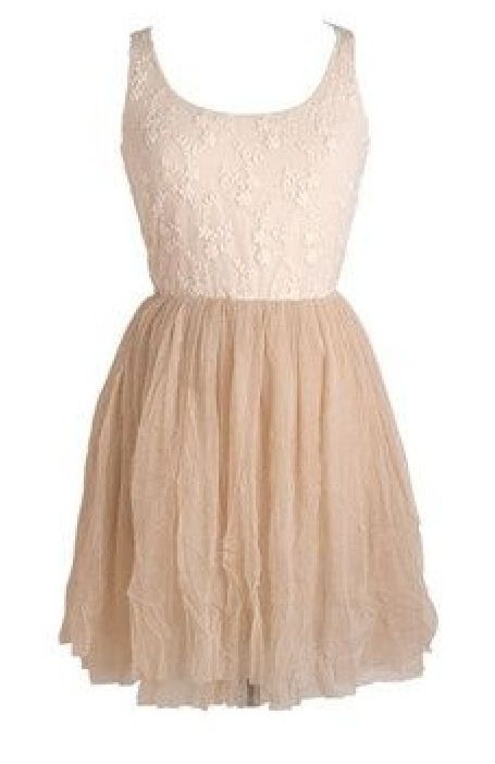 Cream Lace Flower Appliqué And Nude Skirt Tank Dress Cute