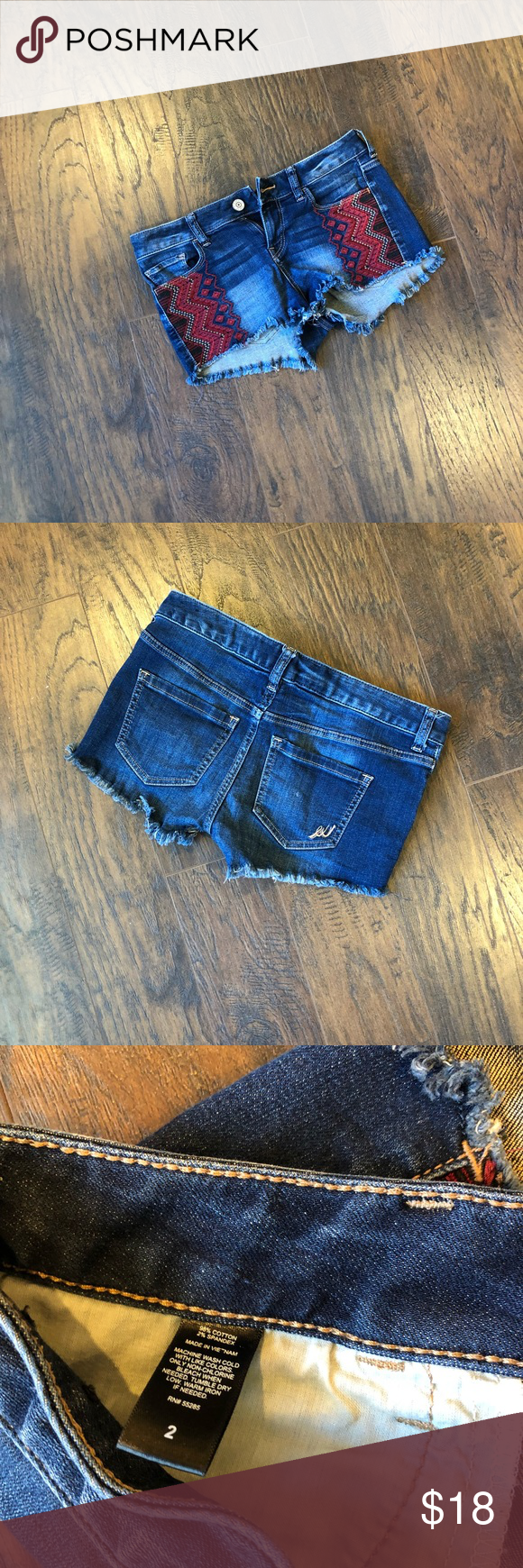"""Express denim cutoff shorts These cutoff shorts feature tribal print design on both sides Approx 8"""" in length in front and 11"""" in length in back Used but in good condition Express Shorts Jean Shorts #denimcutoffshorts Express denim cutoff shorts These cutoff shorts feature tribal print design on both sides Approx 8"""" in length in front and 11"""" in length in back Used but in good condition Express Shorts Jean Shorts #denimcutoffshorts Express denim cutoff shorts These cutoff shorts feature #denimcutoffshorts"""