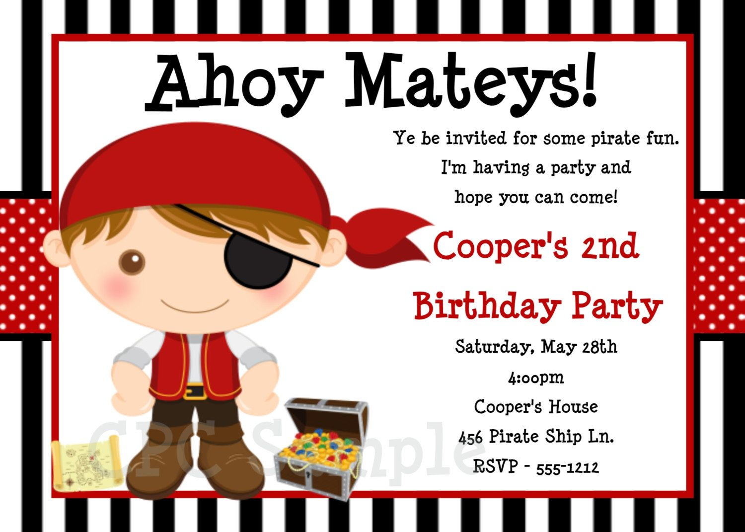 Pirate Birthday Invitation Pirate Party Invitations Printable ...