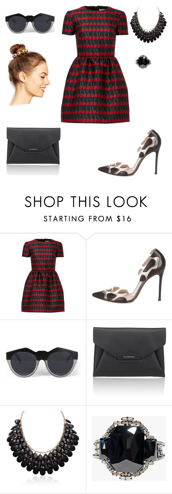 """Cherry bomb"" by heiressbehavior ❤ liked on Polyvore featuring RED Valentino, Gianvito Rossi, Le Specs, Givenchy, Helene Zubeldia and ASOS"