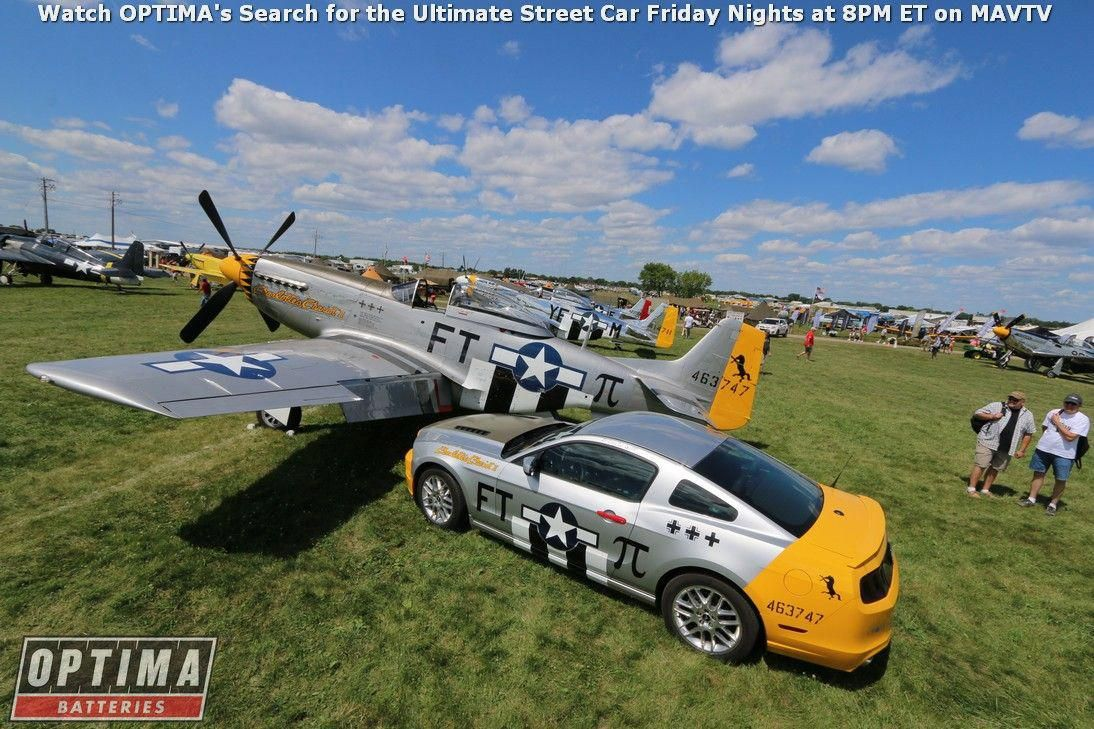 P51 mustang with a fordmustang at the eaa airventure fast