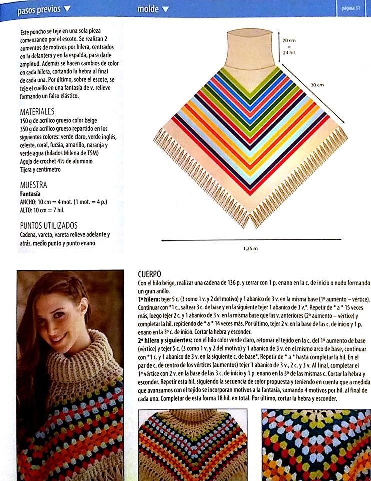 poncho multicolor, expli y molde | ponchos | Pinterest | Ponchos ...