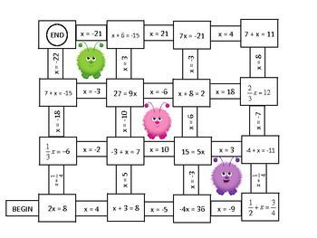 Algebra Solving One And Two Step Equations Mazes Free Teaching