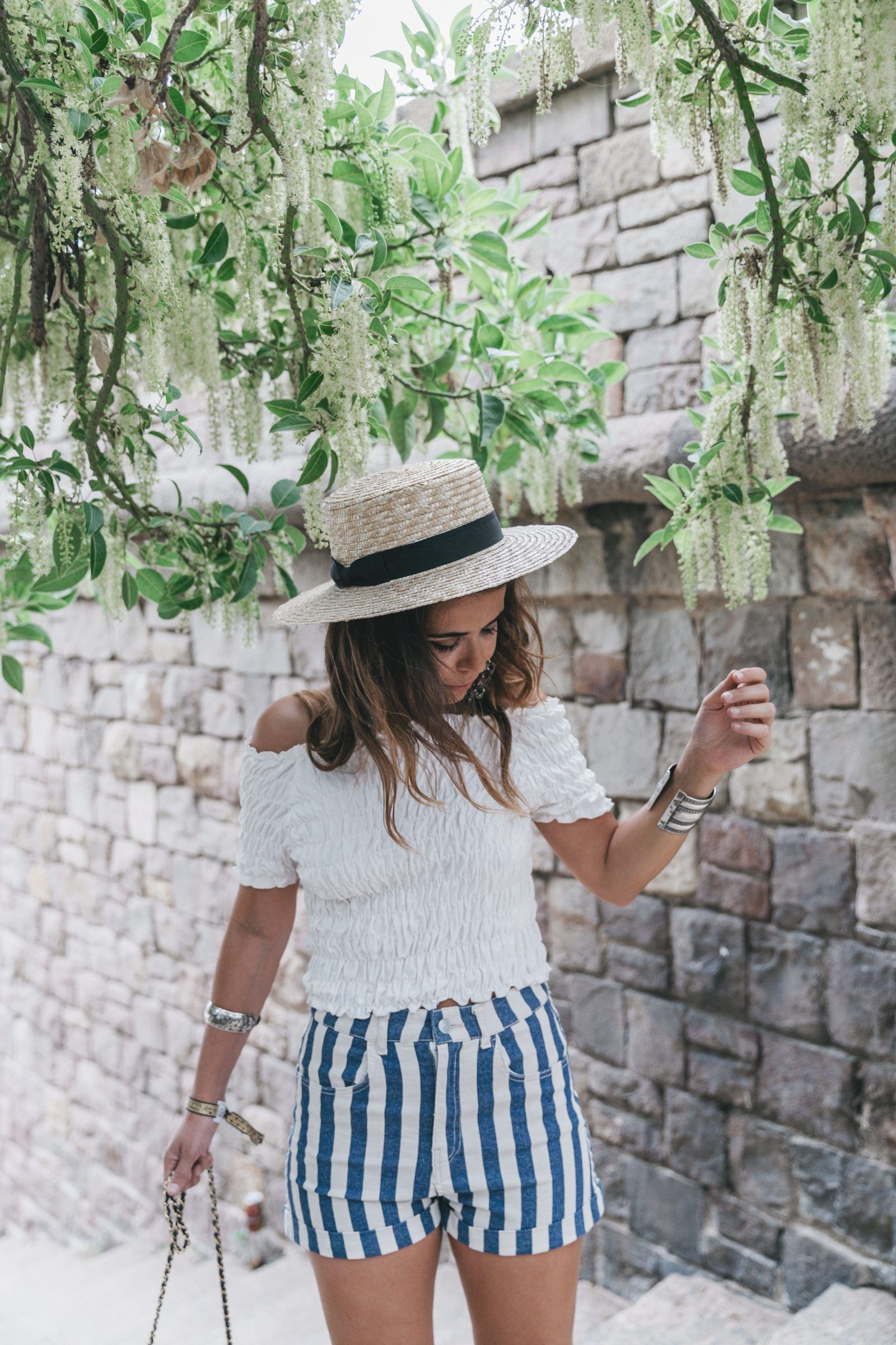 e34f2f6481ed Primavera Sound-HM-Stripped Shorts-Canotier-Hat-Espadrilles-Outfit -Summer-Collage Vintage-11