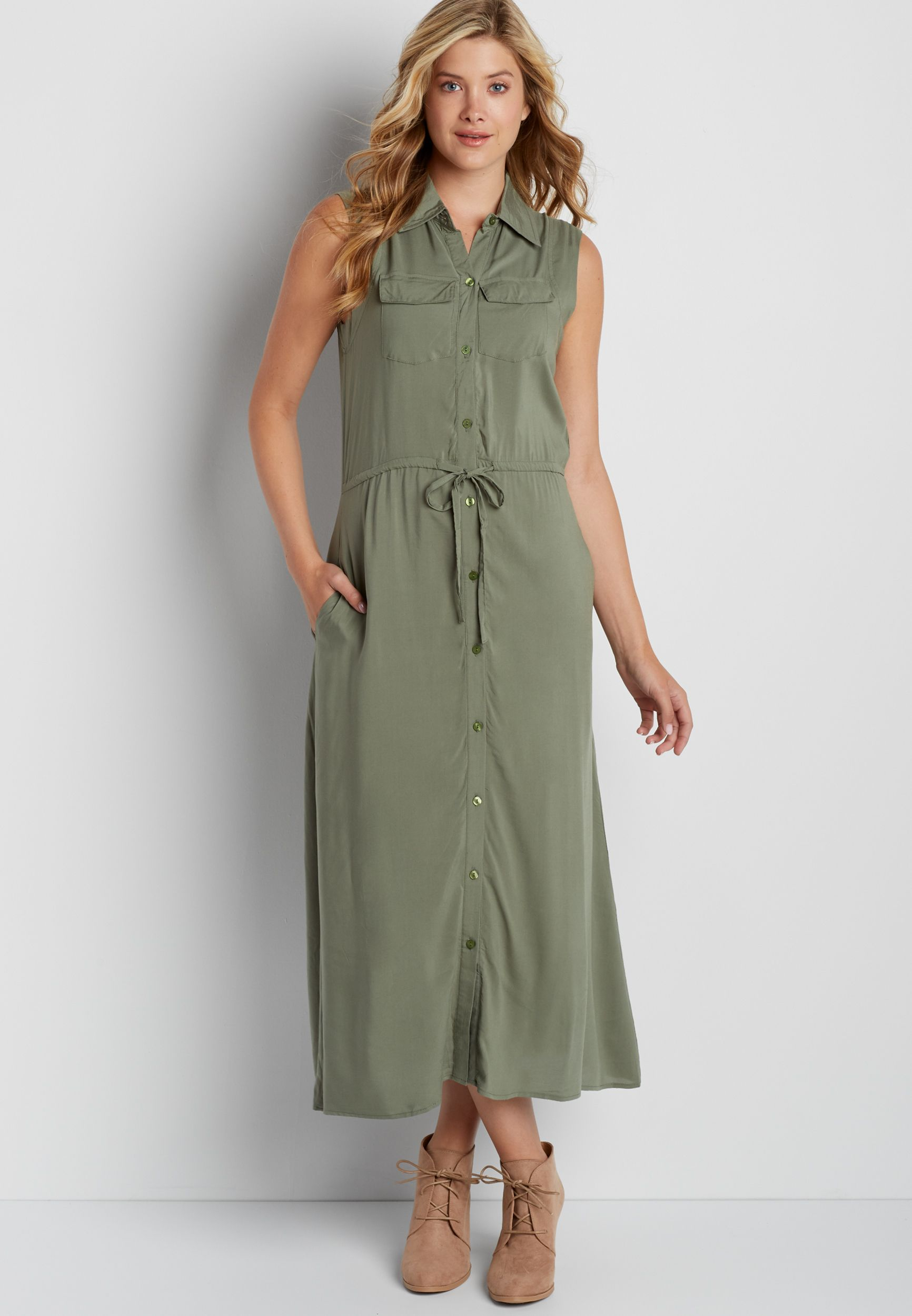 e8fc15c491befe maxi shirtdress in olive green (original price, $39.00) available at  #Maurices