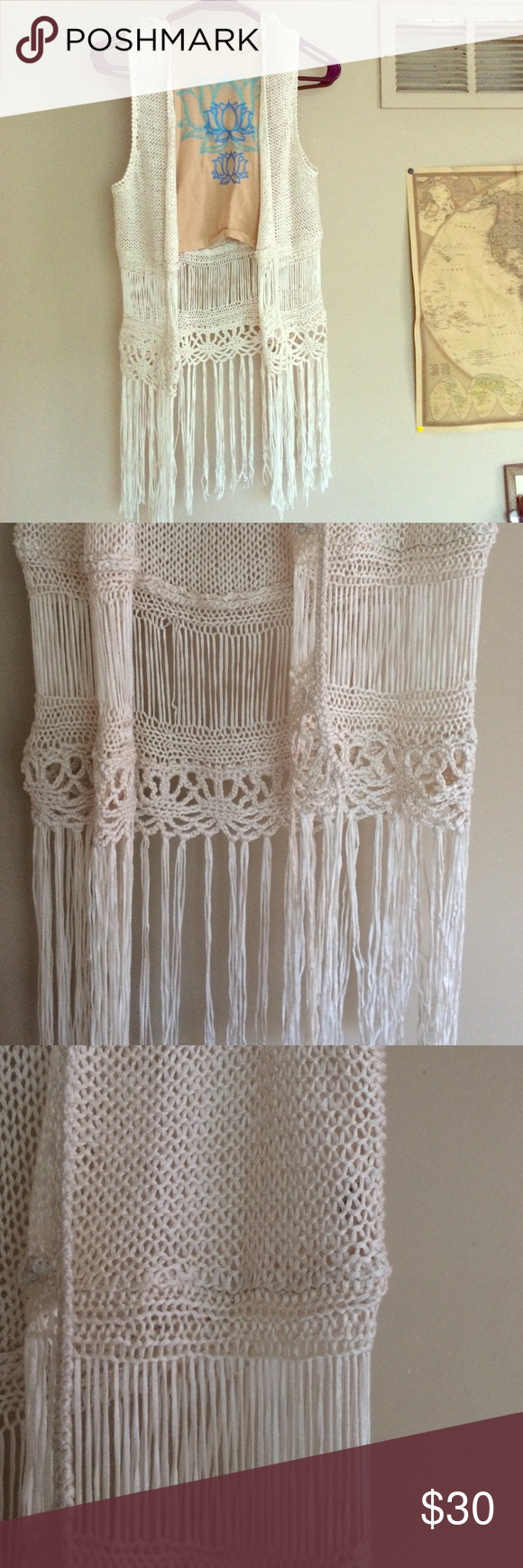 Bohemian Fringe Vest Beautiful Boho best! Perfect for your gypsy soul! Size is small. Brand is L.A. Hearts, free people for exposure  Creme color, no tears, no stains. Free People Tops