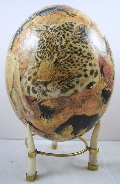 Ostrich egg with leopard art