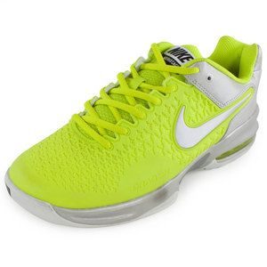half off 510c7 46319 The Nike Women s Air Max Cage Tennis Shoes Venom Green and Metallic Iron  Ore are made for control. These breathable shoes offer high quality  cushioning ...