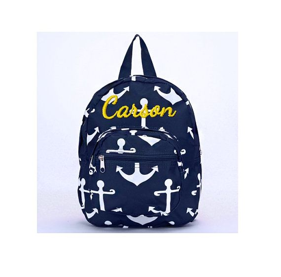 Monogrammed Mini Toddler Backpack - Personalized Navy and White ... acc4efacc0491