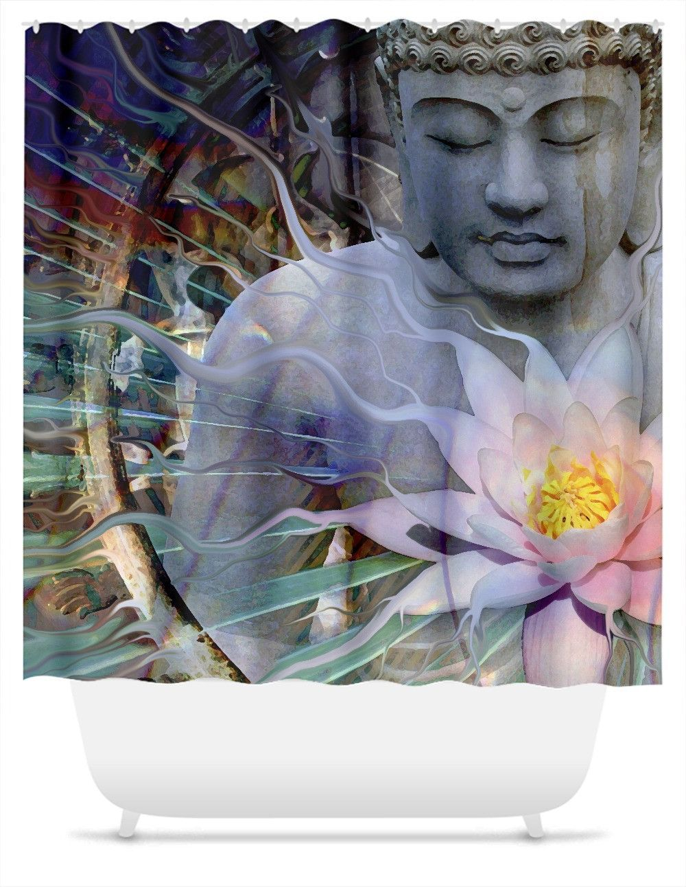 Living Radiance Buddha Shower Curtain Buddhist Artwork Buddha