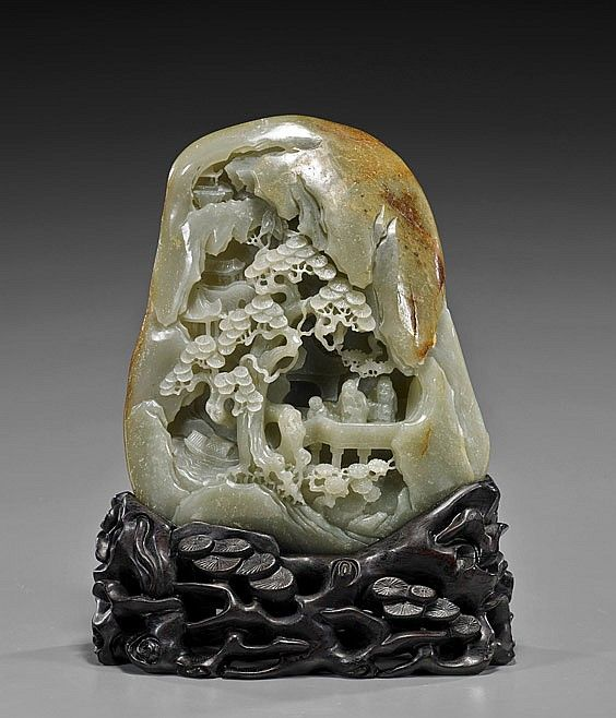 Fine Celadon Jade Mountain 青玉雕風景人物紋山子 18th Century Style Chinese Carved Celadon Jade Pebble Form Mountain The Front And Ve Jade Mountain Celadon Jade Carving