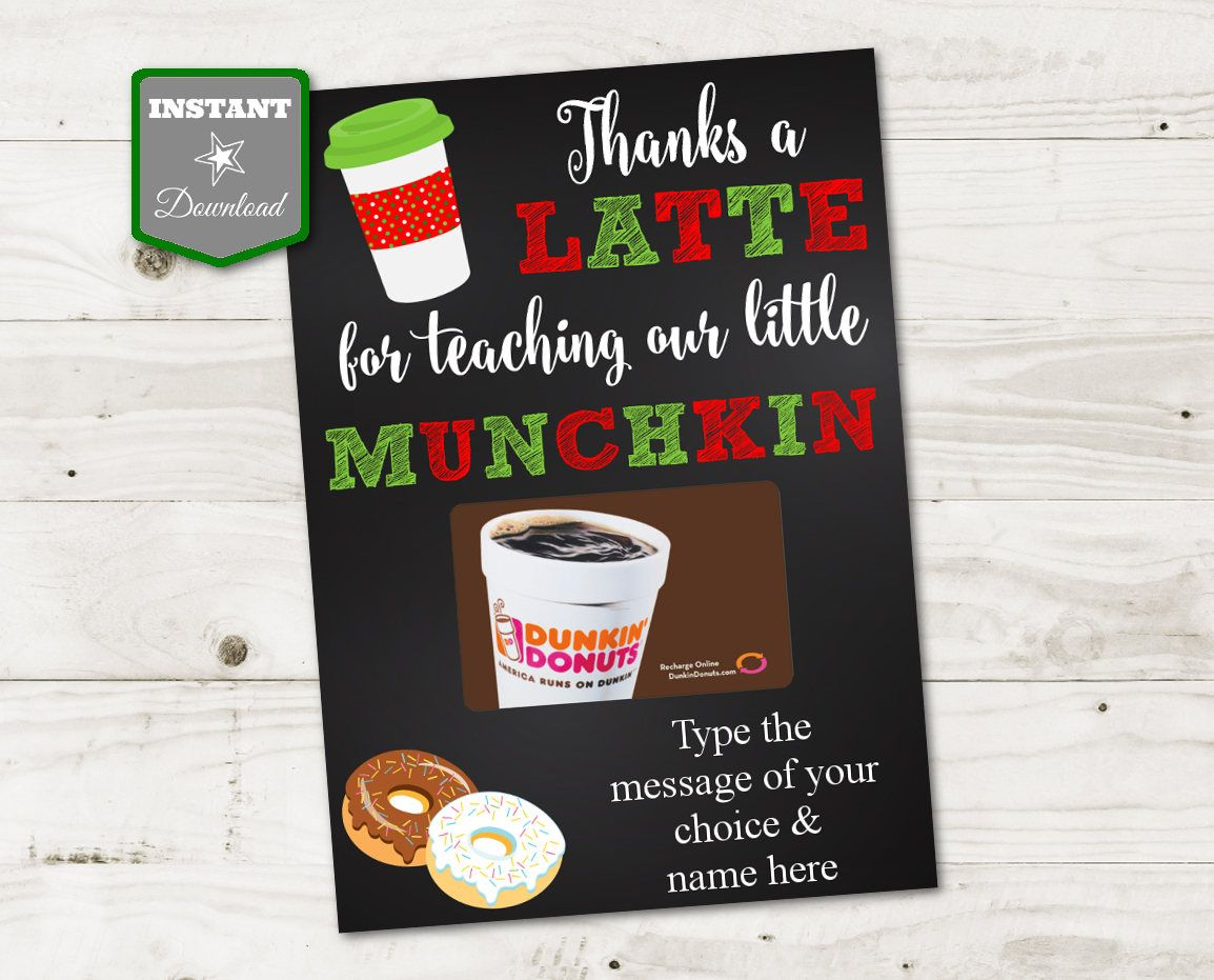 Christmas Ideas: Printable Teacher Gift Card Holder. Thanks a Latte ...