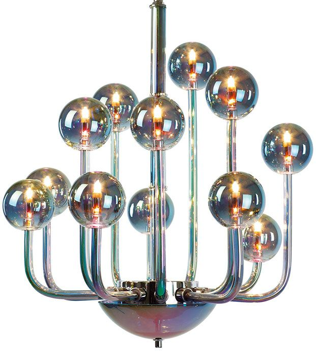 "Satriani crystal chandelier - hand-blown smooth Peacock multicolor crystal glass chandelier.  Satriani Multicolor Crystal Glass Chandelier crystal chandeliers  28"" x 33""H   list price: $9,982.50 your price: $7,986.00"