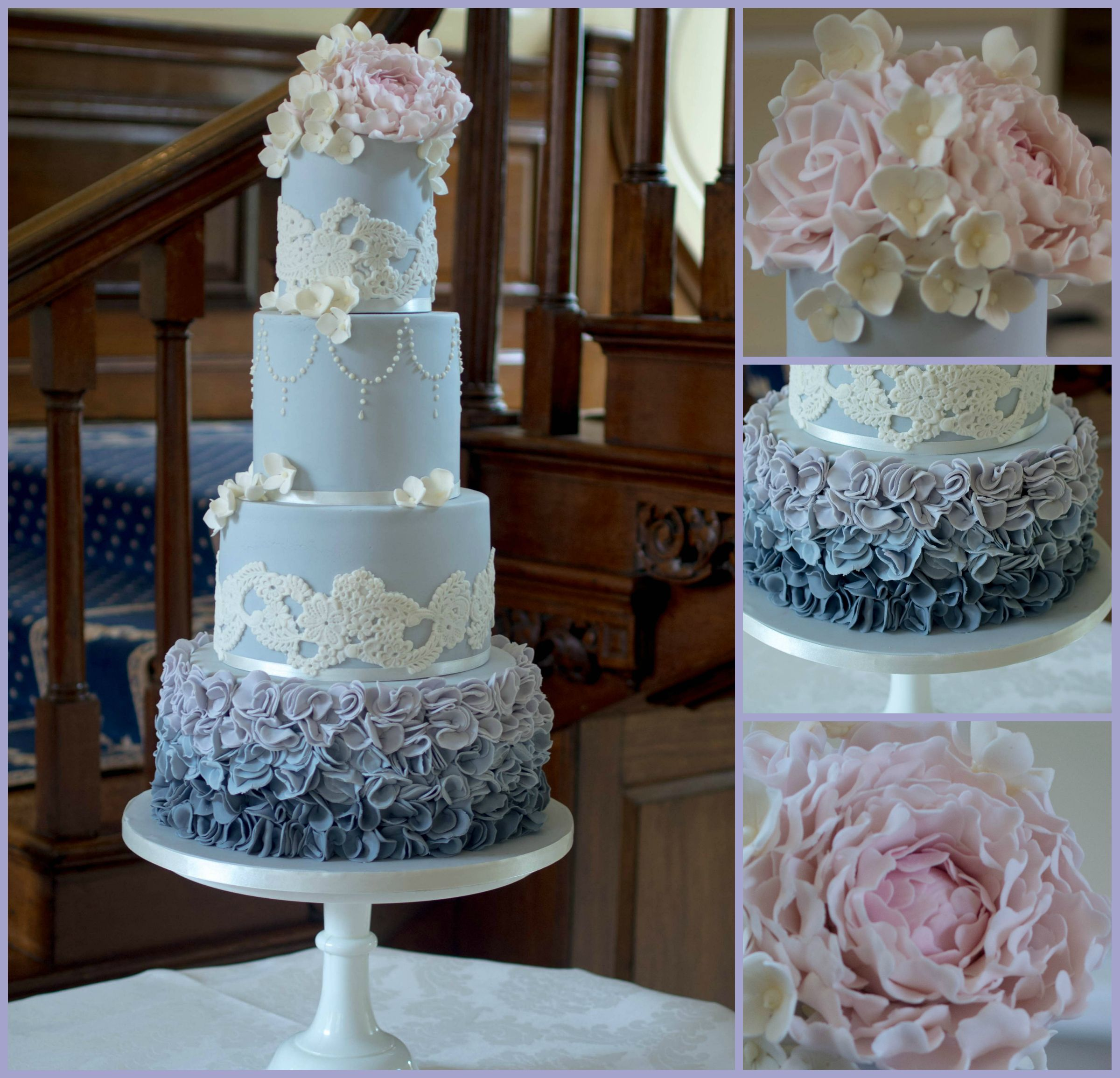Dove grey wedding cake with ombre scrunch