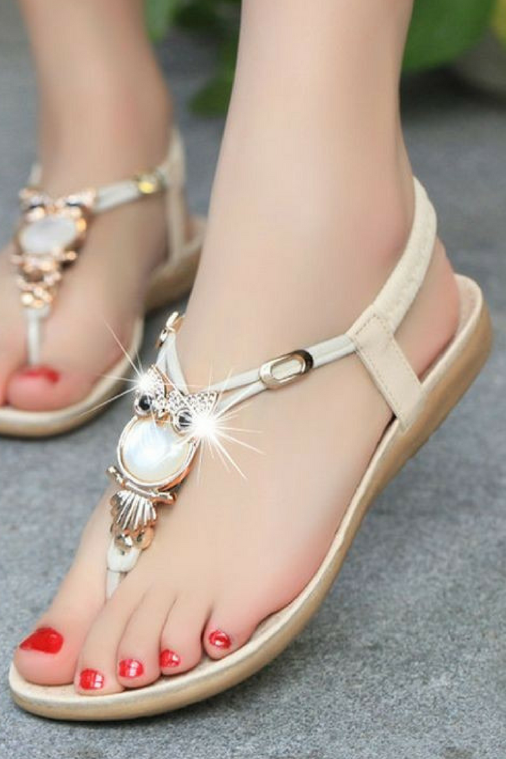 6d32fd342 TAOFFEN bohemian beaded women flat sandals clip toe brand quality sexy  sandals fashion ladies shoes size