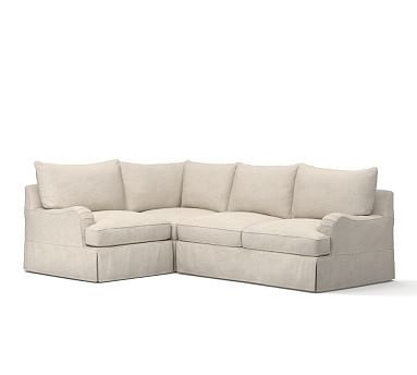 PB Comfort English Arm Right Arm 3-Piece Corner Sectional Slipcover, Knife Edge, Textured Twill Oatmeal