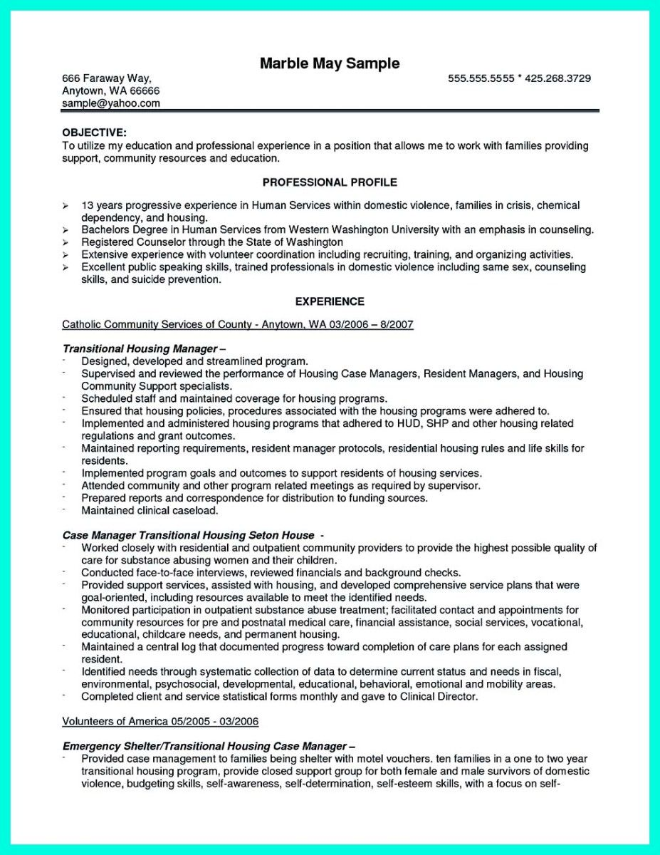 Awesome Inspiring Case Manager Resume To Be Successful In
