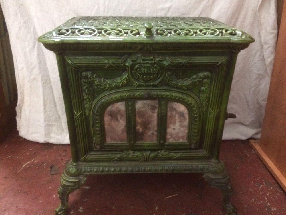 Antique French Pardon Cast Iron Green Enamel Wood Burning