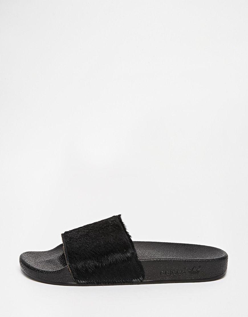 2598a879b0a603 Adidas Originals Adilette Faux Pony Skin Slider Sandals