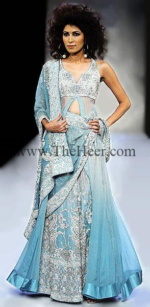 BW7454 Dip Dyed Crinkle Chiffon Sharara Bollywood Wedding Lenghas ...