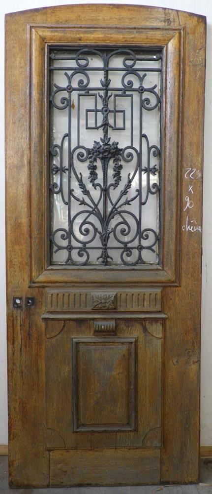 E1va14 porte d 39 entree un vantail en chene maison - Porte bois et fer forge ...