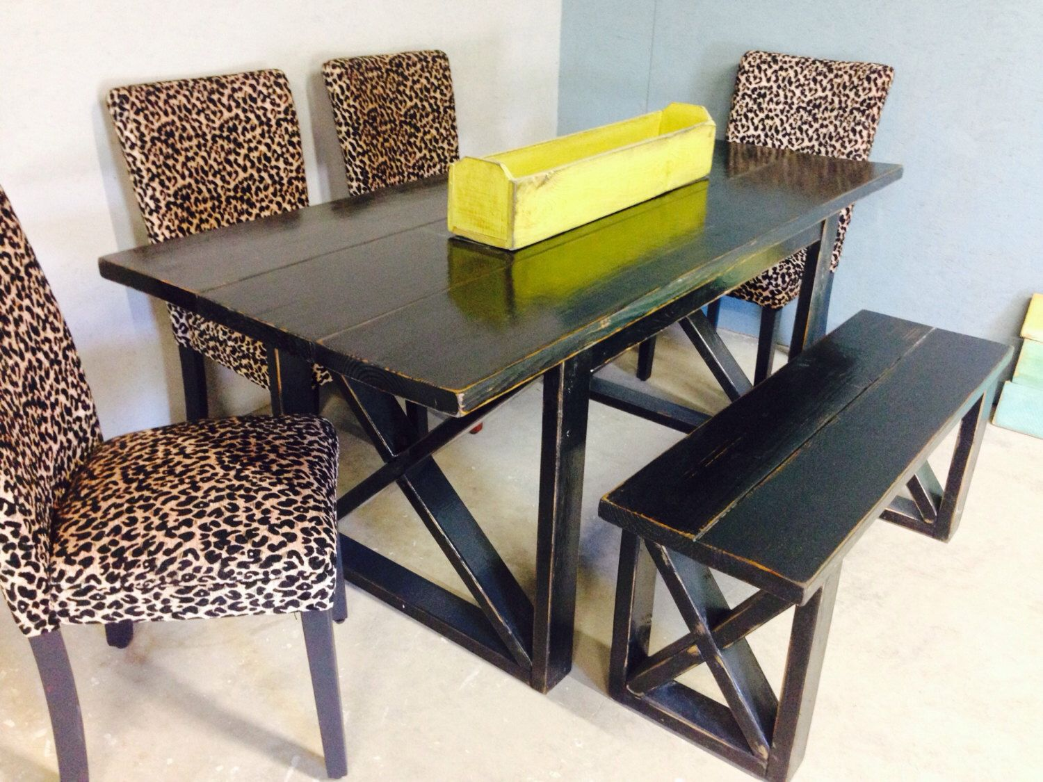 6 Foot Black Distressed Dining Table Includes One 4 Bench You