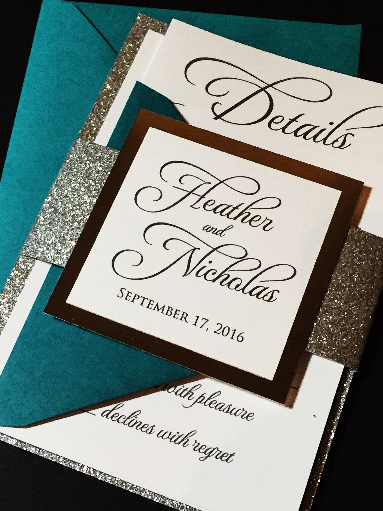 Silver Glitter Wedding Invitation Modern Wedding Invitation