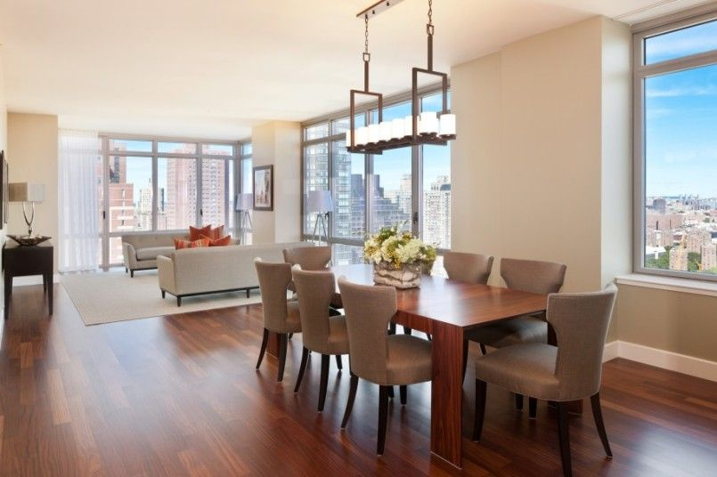 Modern Apartment Dining Room Chandeliers Over Rustic Brown Square Wooden Set On Flooring Installations In Open Floors Decors