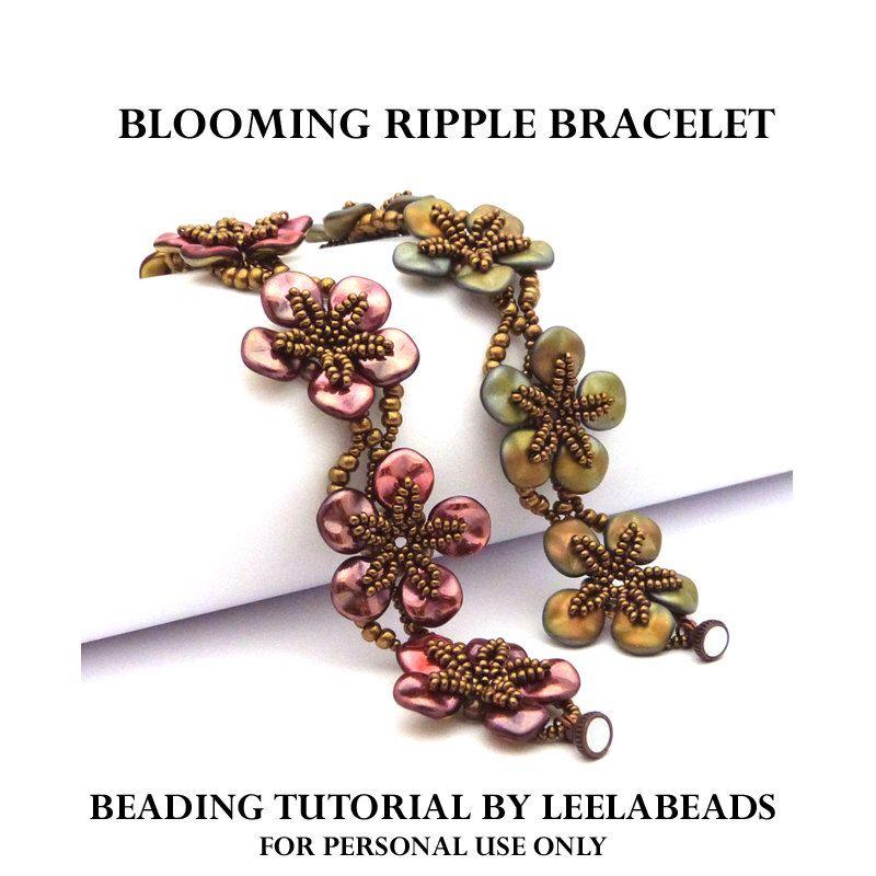 Blooming Ripple Bracelet - PDF beading pattern - Instant Download by LeelaBeads on Etsy https://www.etsy.com/listing/244554372/blooming-ripple-bracelet-pdf-beading