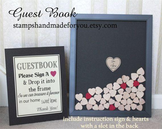 Wedding Guest Book Alternative Heart Drop Box Guestbook Decor Top