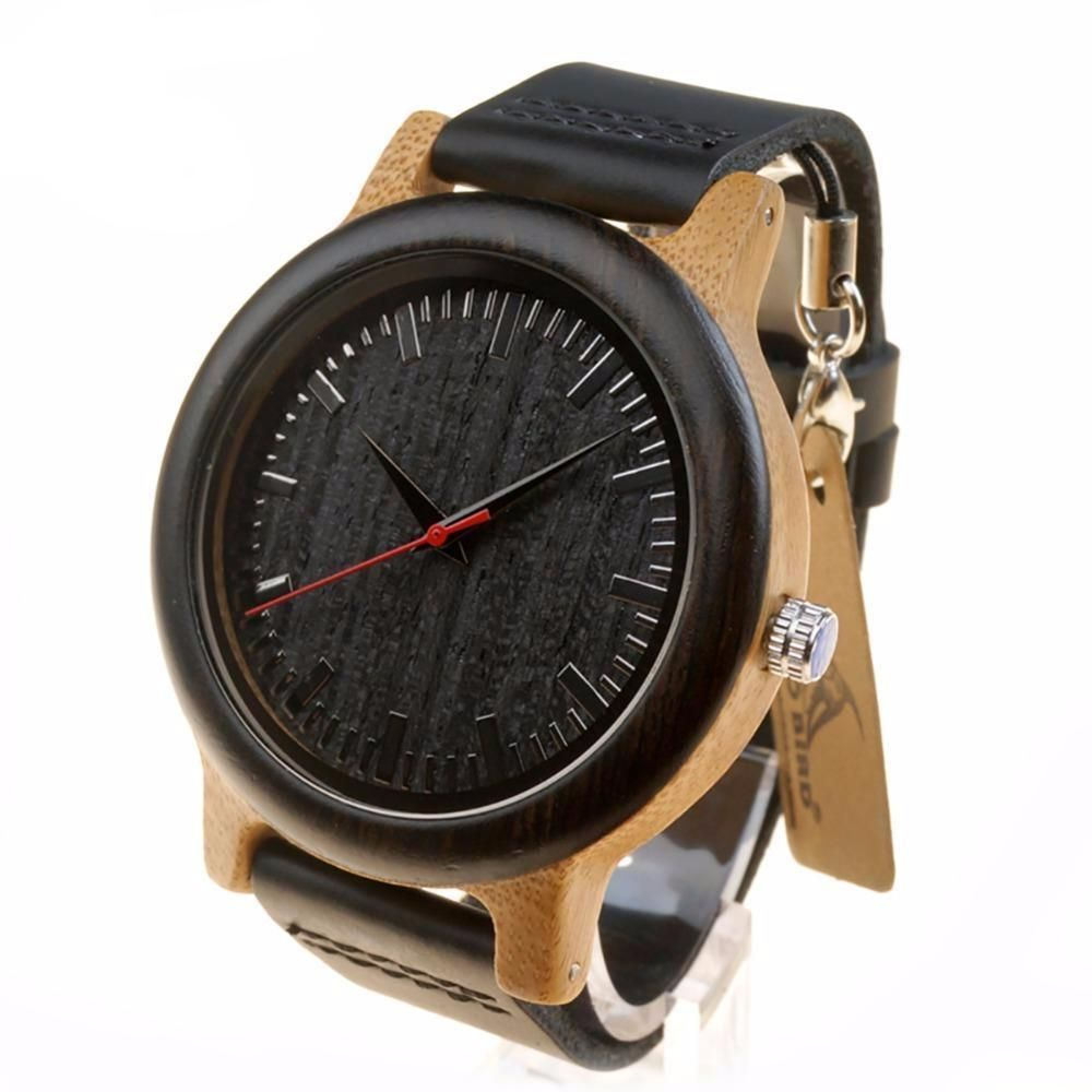 Wood Watch with Black Leather Strap